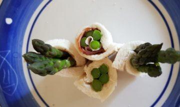 春のレシピ。梅わさびマヨアスパラとハムロール