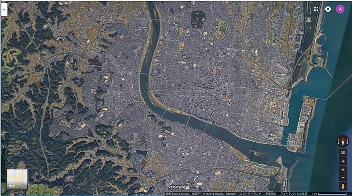 Google航空写真 宮崎市